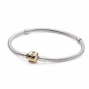 Authentic PANDORA Bracelet w/ 14K Gold Clasp